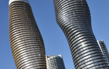 On the Run in Mississauga, Ontario - the 'Marilyn Monroe' Condos.