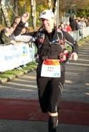 Andrea finishing the 100km ultra-marathon in Germany.