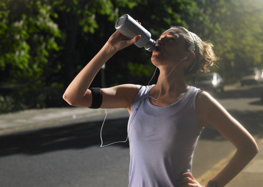 water bottle drinking