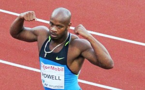 Jamaica's Asafa Powell after his 9.72 win at the 2010 Bislett Games in Oslo, Norway. Photo: Chell Hill.