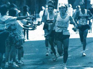 Volunteers during the 1991 marathon