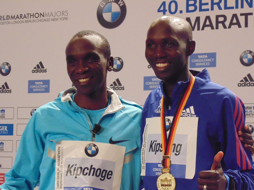 Wilson Kipsang and Eliud Kipchoge after the Berlin Marathon