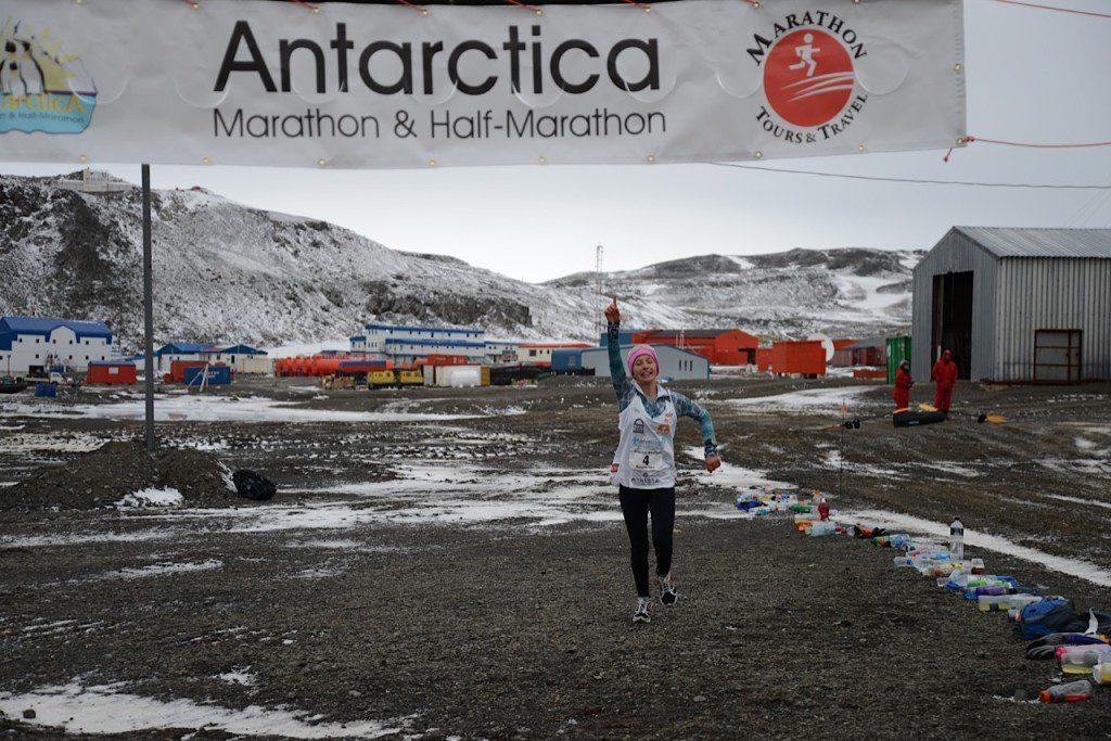 Winter Vinecki finishing the Antarctica Marathon. (Photo courtesy: Team Winter)