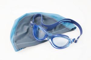 swim cap and goggles