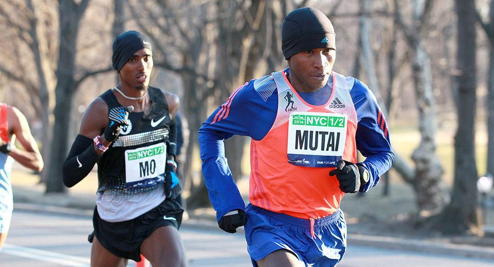 Geoffrey Mutai and Mo Farah race the NYC Half.