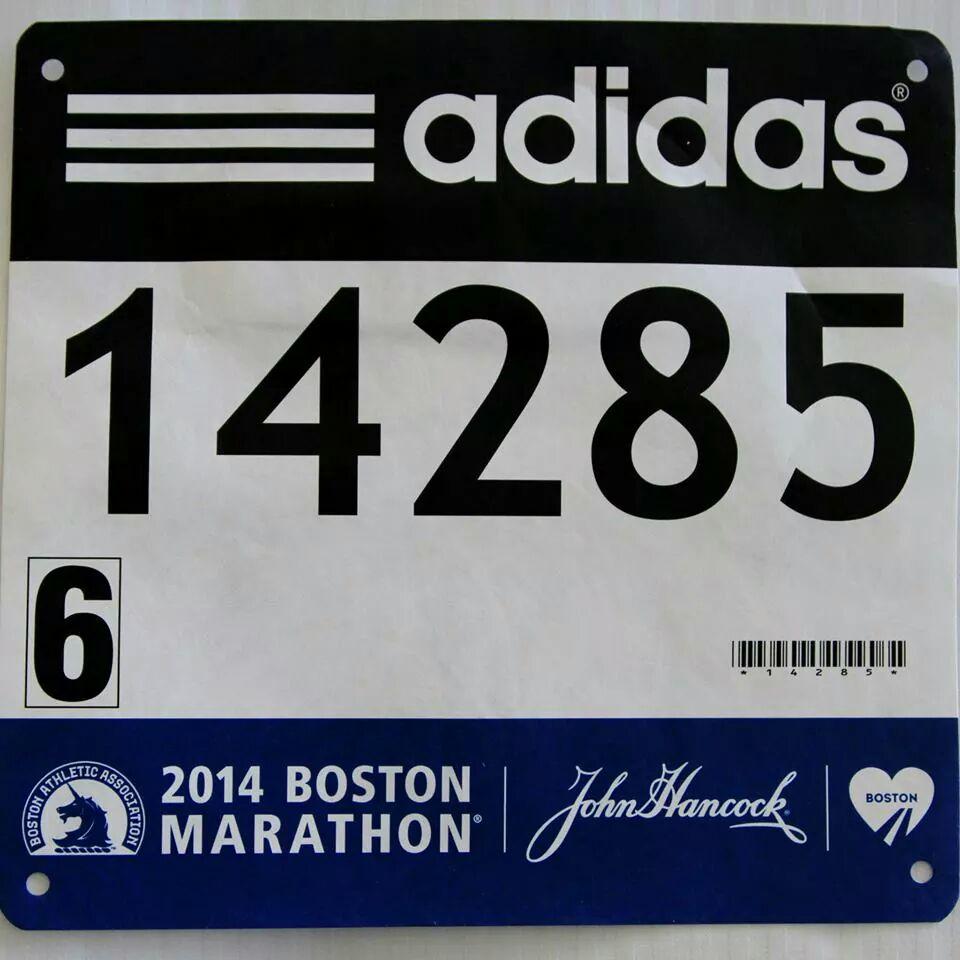 Kara Bonneau's Boston Marathon bib 14245