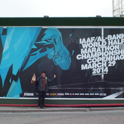 Edward in Copenhagen for the world half-marathon championships.