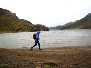 Jim Willett running in Iceland.