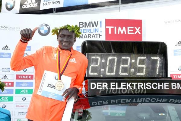 Dennis Kimetto after his marathon world record in Berlin in 2014.