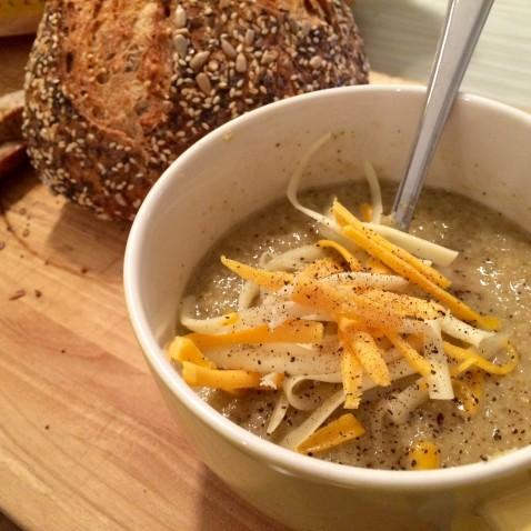 Roasted Cauliflower and Broccoli Soup