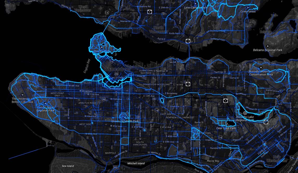 Strava heat map of Vancouver