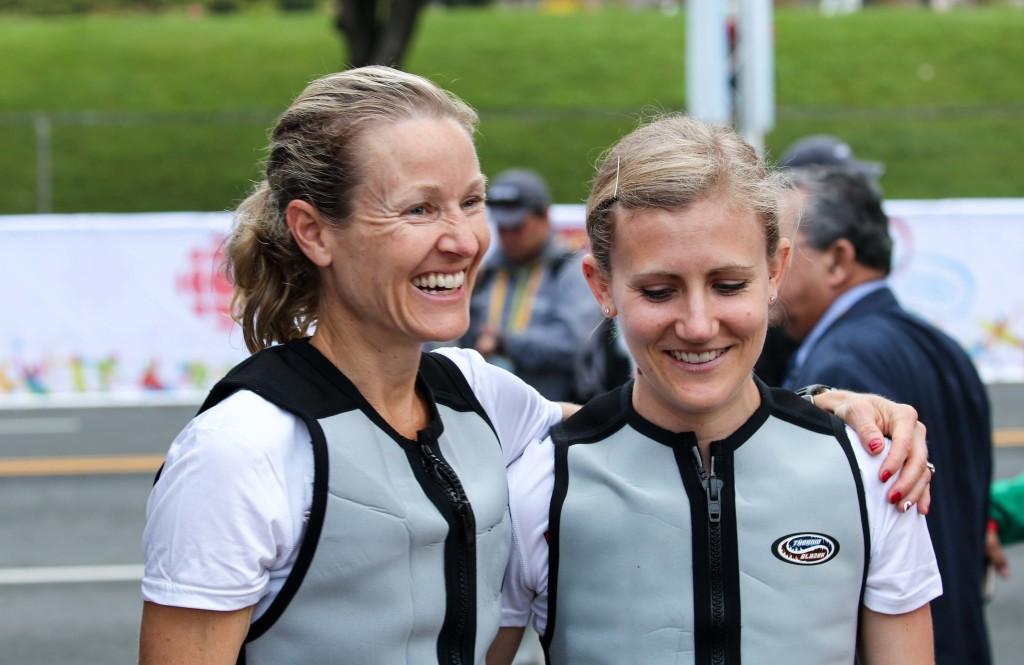 Rachel Hannah and Catherine Watkins wearing ice vests