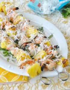 grilled coconut pineapple shrimp kebabs