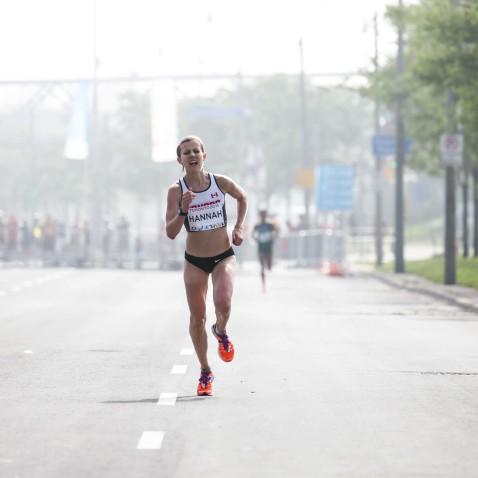 Canada's Rachel Hannah finishes the women's marathon.