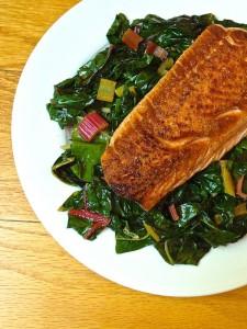 Pan-Seared-Salmon-with-Garlicky-Swiss-Chard-The-Lemon-Bowl