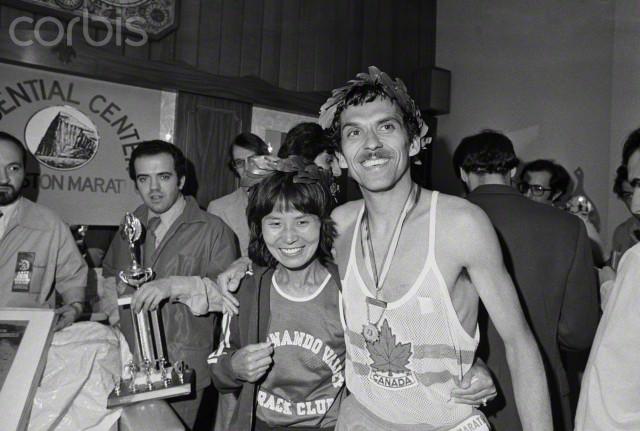 18 Apr 1977, Boston: Jerome Drayton, who won in 2:14:46, poses with Miki Gorman, 41, the women's winner in 2:47:11.