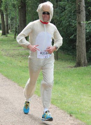 Glen Turner ran the world record in a Sheep costume.