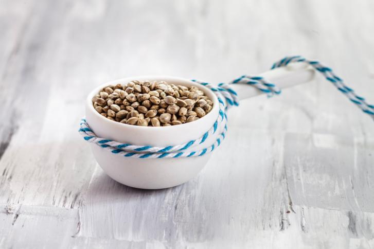 Hemp seeds (Cannabis sativa) in small bowl