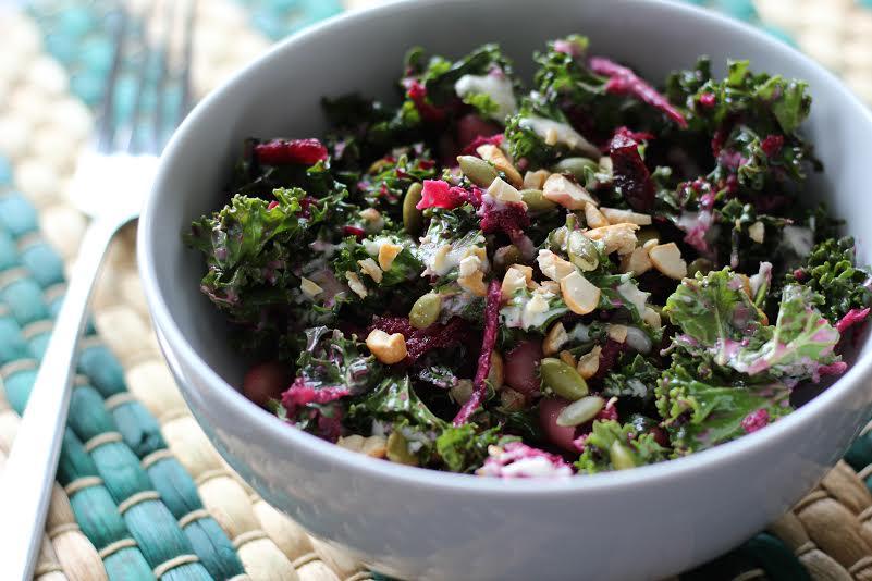 White bean kale salad
