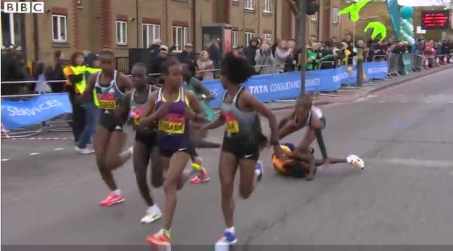 London marathon fall