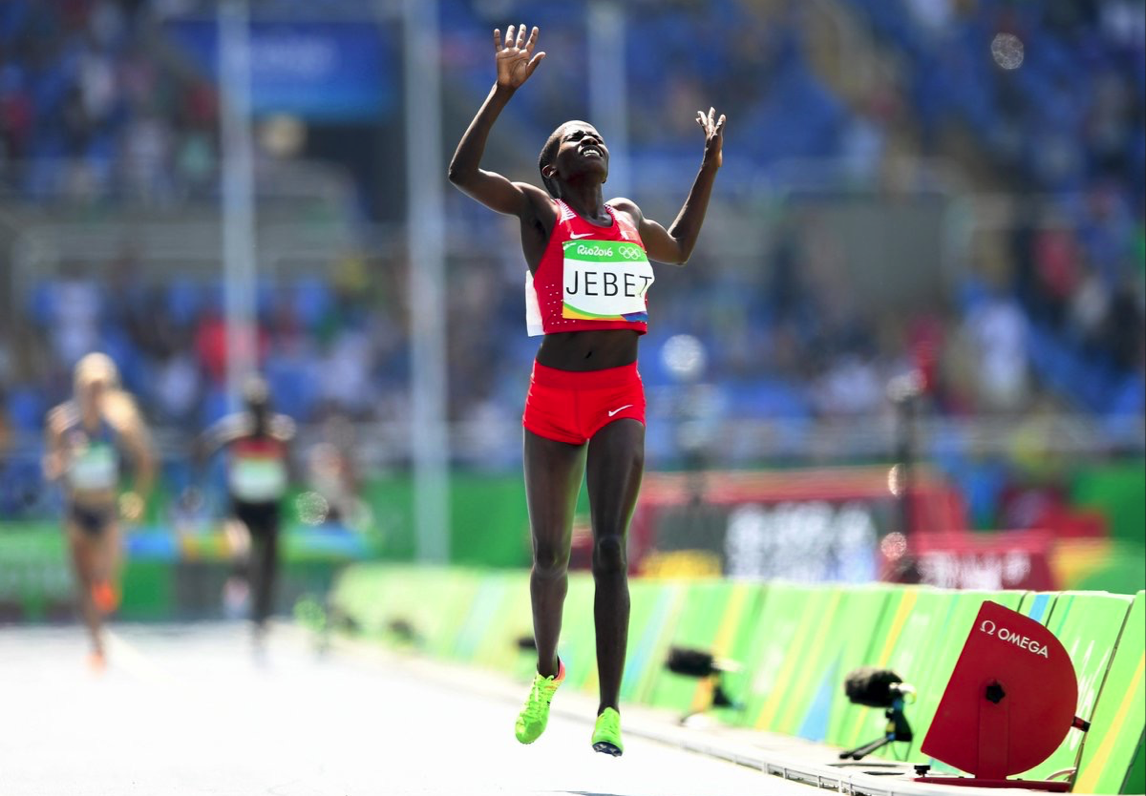 Ruth Jebet wins gold in the 3,000m steeplechase in Rio. Photo: @Olympics