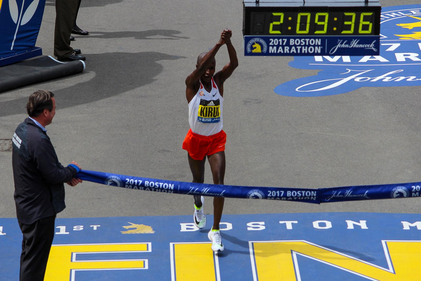 Geoffrey Kirui wins the 121st Boston Marathon. Photo: Michael Doyle