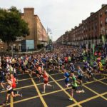 30 October 2016; A view of the 19,500 runners who took to the Fitzwilliam Square start line to participate in the 37th running of the SSE Airtricity Dublin Marathon 2016, making it the fourth largest marathon in Europe. Photo by Stephen McCarthy/Sportsfile